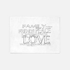 FAITH LOVE FAMILY FRIENDS 5'x7'Area Rug
