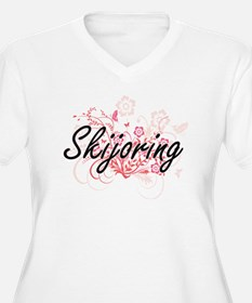 Skijoring Artistic Design with F Plus Size T-Shirt