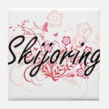 Skijoring Artistic Design with Flower Tile Coaster