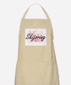 Skijoring Artistic Design with Flowers Apron