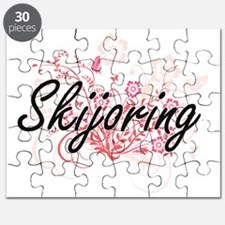 Skijoring Artistic Design with Flowers Puzzle
