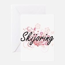 Skijoring Artistic Design with Flow Greeting Cards