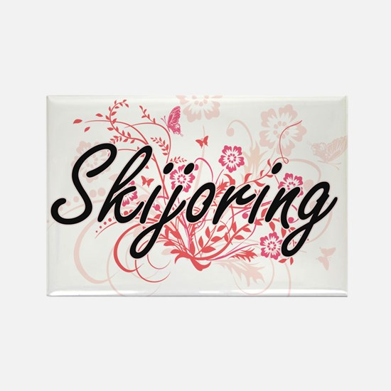 Skijoring Artistic Design with Flowers Magnets