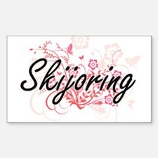 Skijoring Artistic Design with Flowers Decal