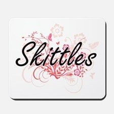 Skittles Artistic Design with Flowers Mousepad