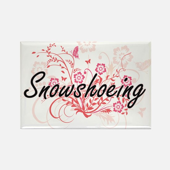 Snowshoeing Artistic Design with Flowers Magnets