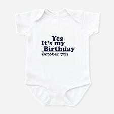October 7th Birthday Infant Bodysuit