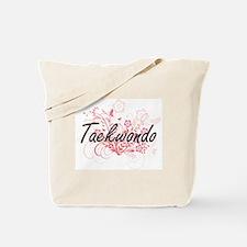 Taekwondo Artistic Design with Flowers Tote Bag