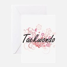 Taekwondo Artistic Design with Flow Greeting Cards