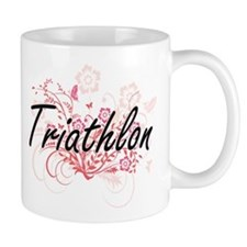 Triathlon Artistic Design with Flowers Mugs