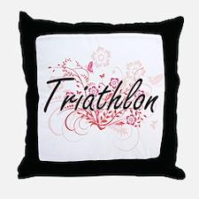Triathlon Artistic Design with Flower Throw Pillow