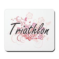 Triathlon Artistic Design with Flowers Mousepad
