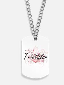 Triathlon Artistic Design with Flowers Dog Tags