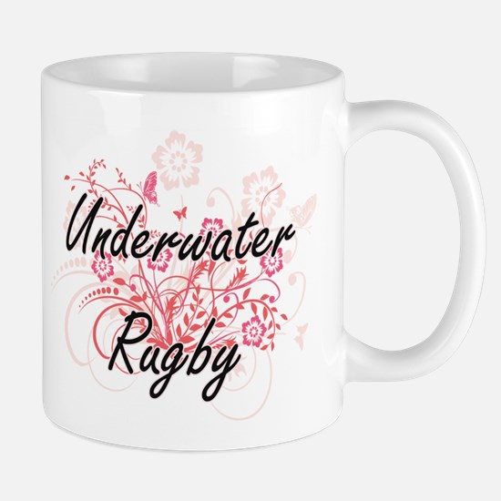 Underwater Rugby Artistic Design with Flowers Mugs