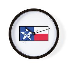 Texas Skull Flag Wall Clock