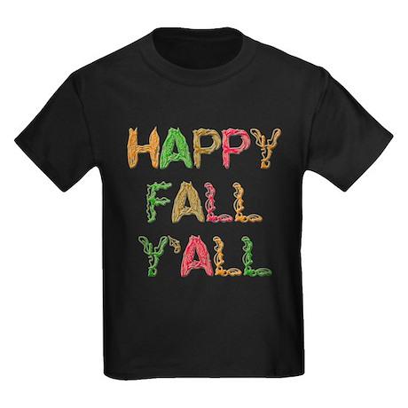 Happy Fall Y'all Kids Dark T-Shirt