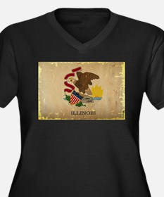Illinois State Flag VINTAGE Plus Size T-Shirt