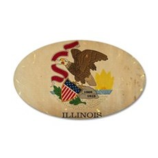 Illinois State Flag VINTAGE Wall Decal