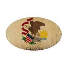 Illinois State Flag VINTAGE Oval Car Magnet