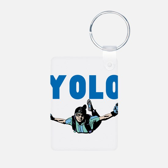 Yolo Sky Diving Aluminum Photo Keychain