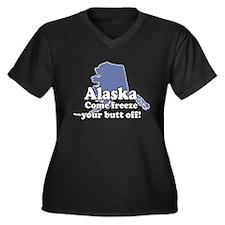 Alaska Is Cold Women's Plus Size V-Neck Dark T-Shi