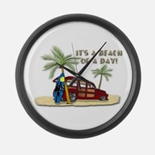 It's A Beach Of A Day! Large Wall Clock