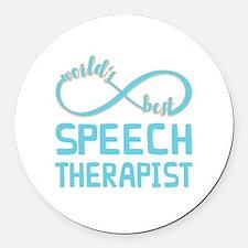 Worlds Best Speech Therapist Round Car Magnet