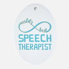 Worlds Best Speech Therapist Oval Ornament