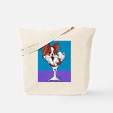 Papillon, White & Red Tote Bag