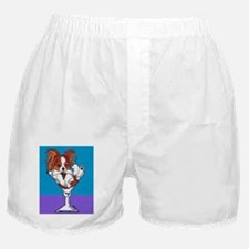 Papillon, White & Red Boxer Shorts