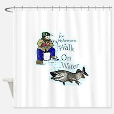 Ice fishing muskie Shower Curtain