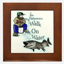 Ice fishing muskie Framed Tile
