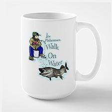 Ice fishing muskie Large Mug