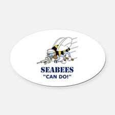 Seabees Can Do Oval Car Magnet