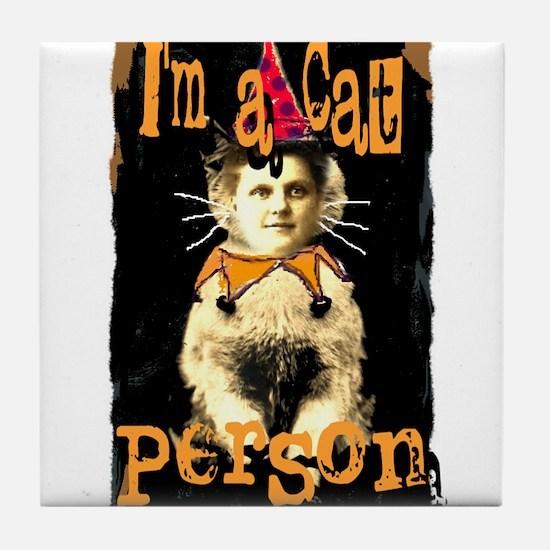 Cat Person Tile Coaster