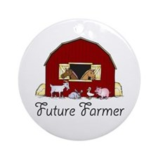 Future Farmer Barnyard Ornament (Round)