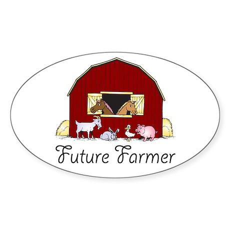 Future Farmer Barnyard Oval Sticker