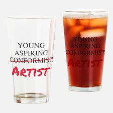 Young Aspiring Conformist Artist Drinking Glass