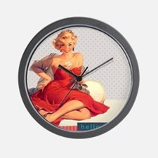Cute Red head pinup girl Wall Clock