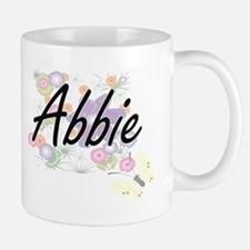 Abbie Artistic Name Design with Flowers Mugs