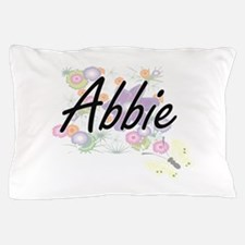 Abbie Artistic Name Design with Flower Pillow Case