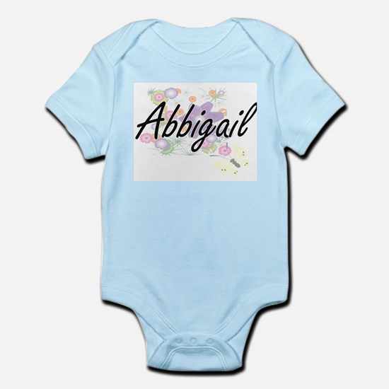 Abbigail Artistic Name Design with Flowe Body Suit