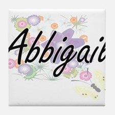 Abbigail Artistic Name Design with Fl Tile Coaster