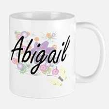 Abigail Artistic Name Design with Flowers Mugs