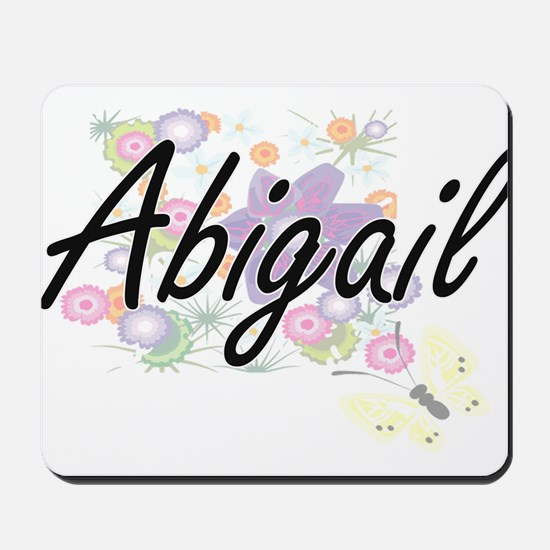 Abigail Artistic Name Design with Flower Mousepad