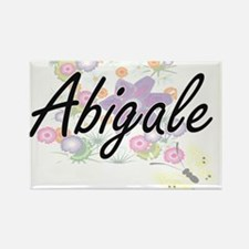 Abigale Artistic Name Design with Flowers Magnets