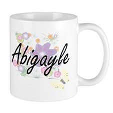 Abigayle Artistic Name Design with Flowers Mugs