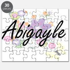 Abigayle Artistic Name Design with Flowers Puzzle