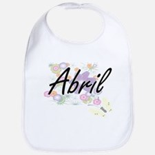 Abril Artistic Name Design with Flowers Bib