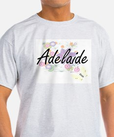 Adelaide Artistic Name Design with Flowers T-Shirt